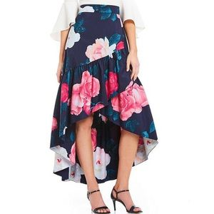 Eliza J hi-Lo floral taffeta ruffle skirt